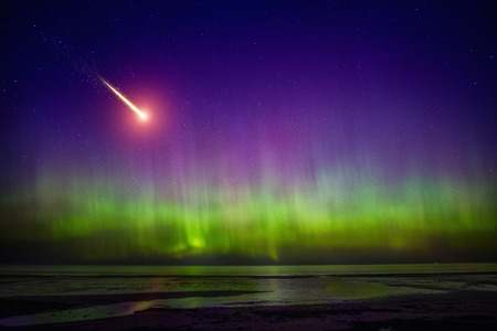 comet: Falling comet and Aurora Borealis