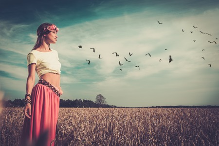 hippie: Beautiful hippie girl in a field