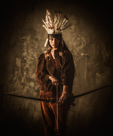 native american girl: Indian woman warrior with bow