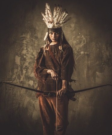 cherokee indian: Indian woman warrior with bow
