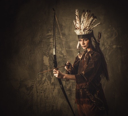 tribal woman: Indian woman warrior with bow