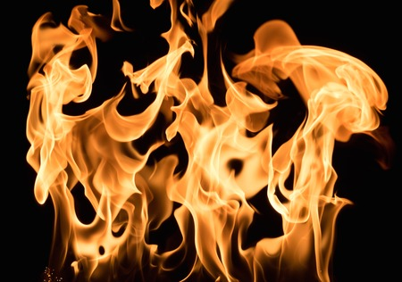 gas fireplace: Burning flame on black