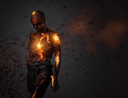 bodypainting: Creature made from lava and fire