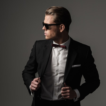 secret agent: Tough sharp dressed man in black suit