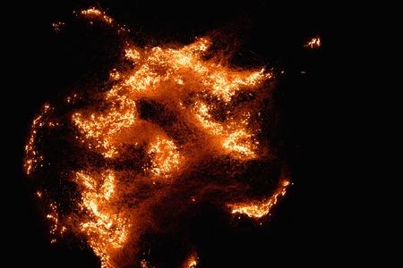 gas fireplace: Burning flame on black background