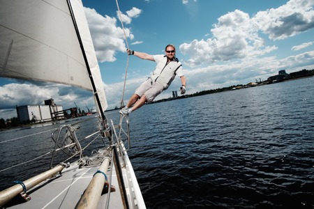 sailing crew: Captain on a yacht during race