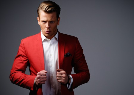 stylish men: Stylish man in red jacket