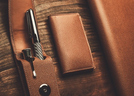 luxurious: Luxurious rollerball pen on a wooden background