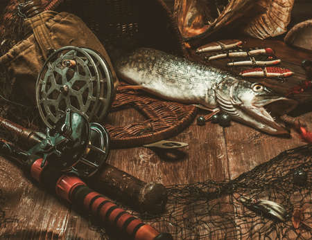 Fishing tools and fresh pike on a wooden table Stock Photo