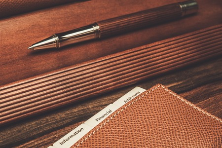 luxurious: Luxurious rollerball pen and desk pad Stock Photo