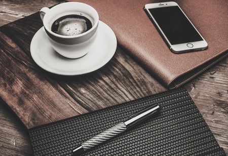 luxurious: Luxurious businessman tools on a wooden table Stock Photo