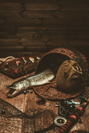 spinner: Fishing tools and fresh pike on a wooden table Stock Photo