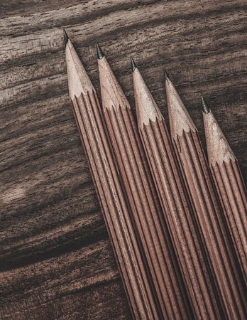 luxurious: Luxurious charcoal drawing pencils on a wooden table Stock Photo