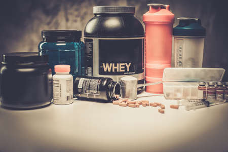 nutritional: Bodybuilding nutrition supplements and chemistry Stock Photo