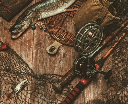 a freshwater fish: Fishing tools and fresh pike on a wooden table Stock Photo