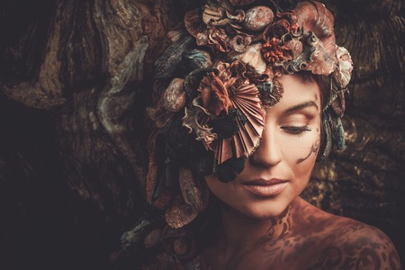 myth: Nymph woman in a magical forest Stock Photo