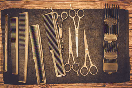 barber scissors: Hairstylists accessories in barber shop
