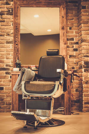 hairdressers: Clients chair in barber shop