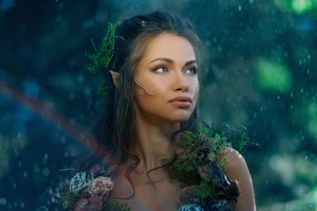 elves: Elf woman in a magical forest Stock Photo