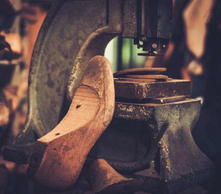 metier: Shoemaker studio craft professional machine. Stock Photo