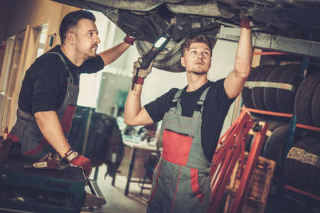 automotive industry: Professional car  mechanics  working under lifted car in auto repair service.
