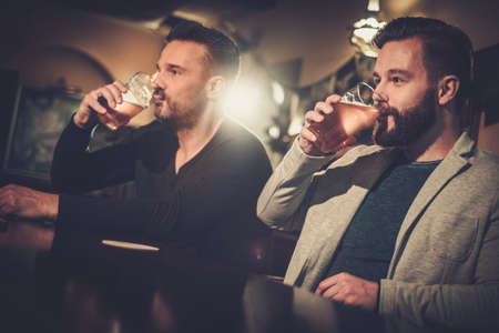 beer pint: Cheerful old friends drinking draft beer at bar counter in pub. Stock Photo