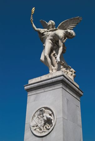 Statue Goddess Nike supporting wounded warrior (The Palace Bridge - Schlossbrucke, Berlin, Germany). With clipping path.