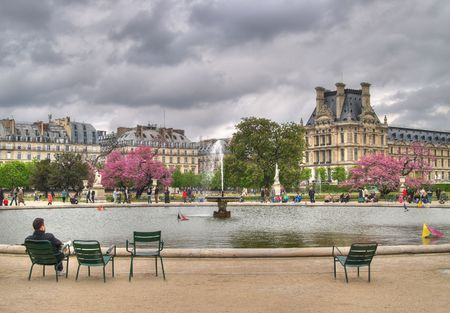 The view of fountain in Tuileries Gardens, Paris, France photo