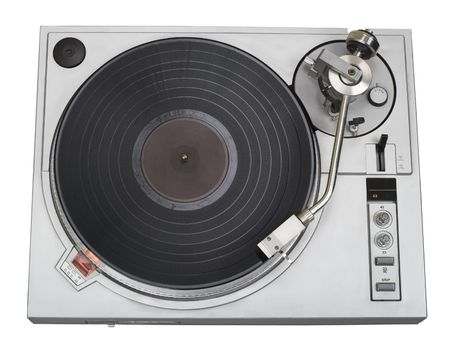 This 20-years old turntable is stylish now as before. There is a disk with blank label. You can put your logo and text on it. Clipping path included. Stock Photo