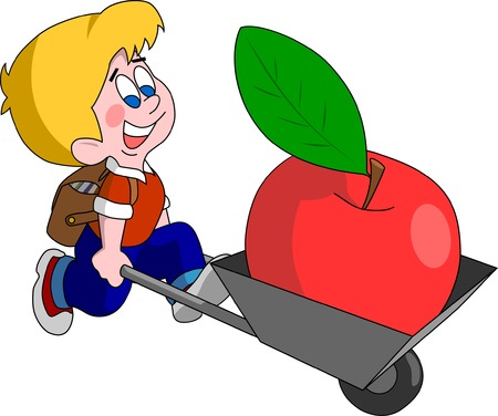 taşımak: Back to school. Cute boy carry big apple in cart at the beginning of school year Çizim