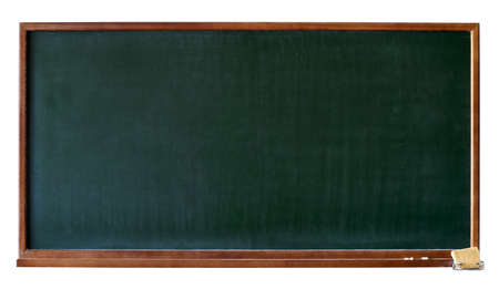 school board: Green blank blackboard with wooden frame, chalktray and eraser. Isolated over white. Add any text, message or greeting you want.