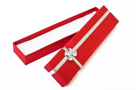 Red gift box open empty decorated with silver ribbon over white background. Stock Photo - 1796349