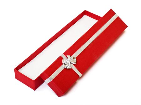 Red gift box open empty decorated with silver ribbon on white background. You can put any object or present in.Red gift box open empty on white background Stock Photo - 1877619