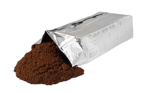 coffee grounds: Open new coffee vacuum foil bag on white background.