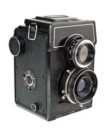 Old two lens medium format film camera.  photo
