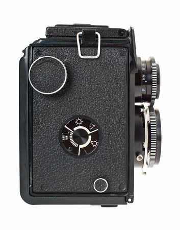 Old two lens medium format film camera. Side view.  photo