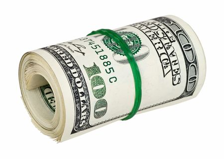 tightened: Dollar roll tightened with band. Rolled money isolated on white.