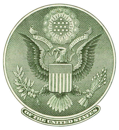 reverse: Great Seal of United States from reverse of one dollar bill. Isolated over white
