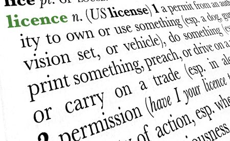 licence: Licence word dictionary definition in great perspective