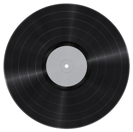 gramophone: Long play vinyl record with blank paper label isolated on white