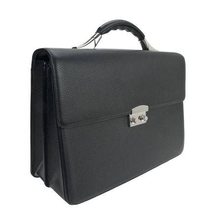 Black leather business briefcase isolated on white  photo