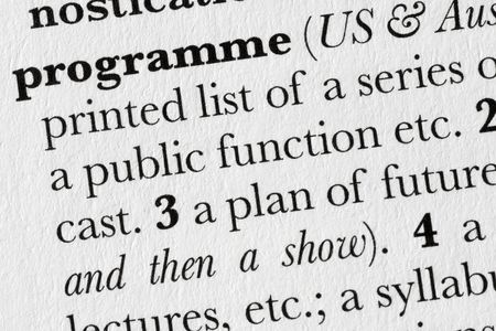 programme: Programme word dictionary definition closeup