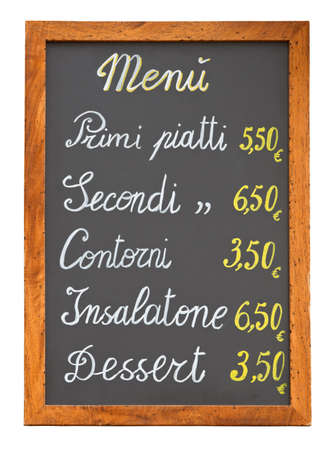Italian fast food restaurant menu chalkboard isolated on white with clipping path Stock Photo