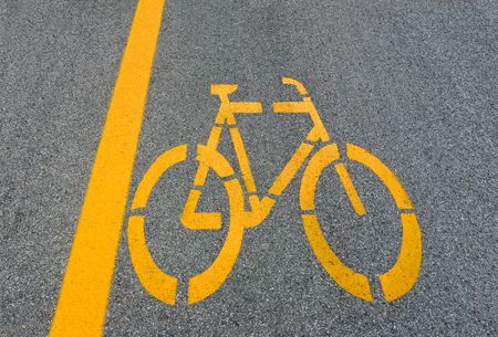 Bicycle lane sign on road photo