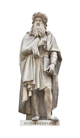 Leonardo Da Vinci statue isolated on white. Created by Luigi Pampaloni in 1842. Stock Photo