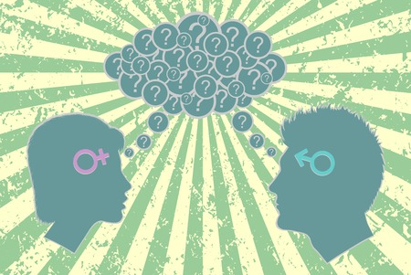 optimistic: Gender relations concept. Male and female face each other with cloud of questions above them and sun rays background as optimistic metaphor