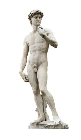 naked statue: David statue by ancient sculptor Michelangelo isolated on white