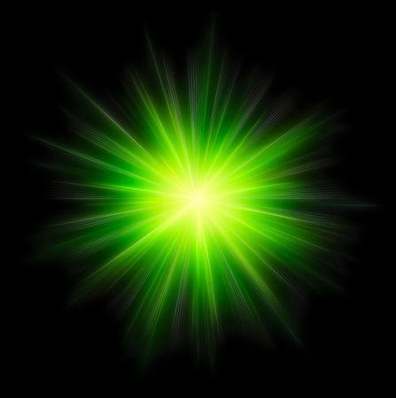 Star burst green on black background Stock Photo