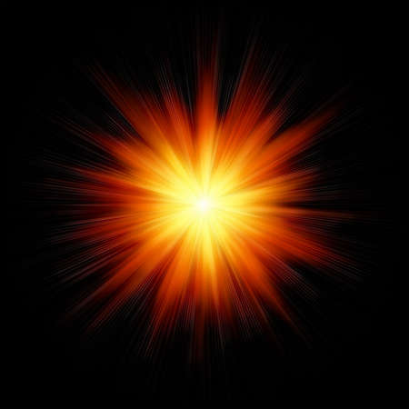 supernova: Star burst red and yellow fire on black background Stock Photo