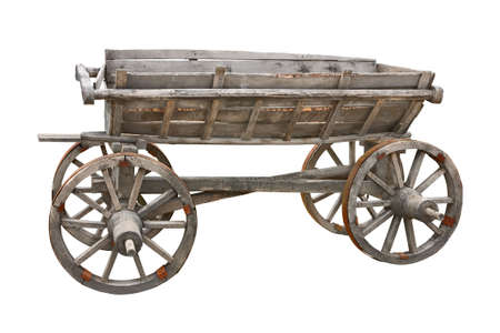 carts: Old wooden wagon isolated on white background with clipping path Stock Photo